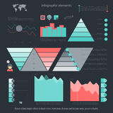 Elements two. Set of infographic elements  on dark background. vector timeline and option graph symbol. pyramid info graphic icons with world map. financial Royalty Free Stock Image