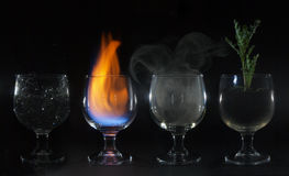 4 elements water fire earth air Stock Photo