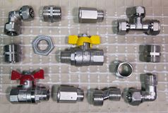 Elements of water and gas shutoff valves, flat lay.  Royalty Free Stock Images