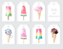 Elements with watercolor ice creams and inscription Stock Photo