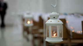 Elements of the wedding decor with candles stock video