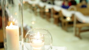 Elements of the wedding decor with candles stock video footage