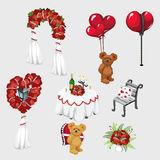Elements of wedding decor, roses and Teddy bear Stock Image