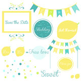 Elements of a wedding invitation in yellow and blue Stock Image