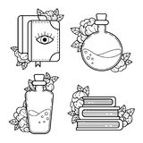 Elements of Witchcraft. Contour drawing. Magic books, bottles with a magical potion. A set of spellcraft items. Halloween. Contour drawing royalty free illustration