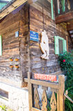 Elements of the wooden decor in Kusturica Drvengrad, Serbia stock photography