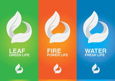 3 elements of the world. Leaf Fire Water. Creative design Stock Photos