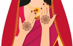 Elementu joga mudra ręki z mehndi wzorami Wektorowa ilustracja dla joga studia, tatuaż, zdroje, pocztówki, pamiątki Obraz Royalty Free