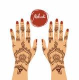 Elementu joga mudra ręki z mehendi wzorami Obraz Royalty Free