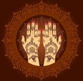 Elementu joga mudra ręki z mehendi wzorami Obrazy Stock