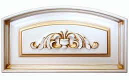 Elementu woodcarving Meble w klasyka stylu biały drzewo z złocistym podstrzyżeniem śniedź cyzelowanie Mała głębia pole luksusowy  obraz royalty free
