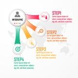 Elementy dla infographic Projekta pojęcie z 4 opcjami, częściami, krokami lub procesami, szablon dla diagrama, mapa, Presentati Obraz Royalty Free