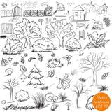 Elementy krajobraz w konturze Doodle nakreślenia plenerowi elementy royalty ilustracja