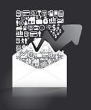 Elementy są małymi ikonami biznes robi w listowego papieru kształcie ilustracja wektor