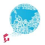 Elementy są małymi ikonami finanse robi w światowym kształta pojęciu ilustracja wektor