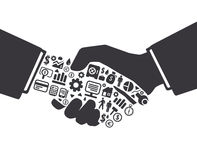 Elementy są małymi ikonami finanse robi w aktywnej biznesmen ręce ilustracja wektor