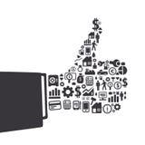 Elementy są małymi ikonami finanse robi w palca kształta good/ok ilustracji