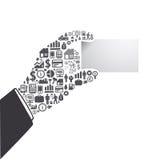 Elementy są małymi ikonami finanse robi w ręka chwyta wizytówce ilustracji