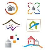 elementy stwarzać ognisko domowe domowego ikon loga set Zdjęcia Stock