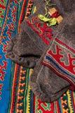 Elementy tradycyjny zimy płótno, bogactwo i dekorowali tkaniny koczowniczy plemię Daleka północ, Biegunowy okrąg Rosja zdjęcia royalty free