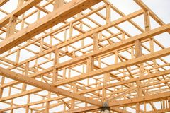 Elementy ustanawia dach drewnianych promieni japończyka pagoda Fotografia Stock