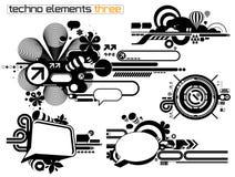 elemetnts θέστε το techno τρία Στοκ Εικόνες