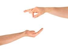 Elemosinando il gesto di mano di aiuto isolato Fotografia Stock Libera da Diritti