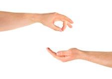 Elemosinando il gesto di mano di aiuto isolato Fotografia Stock