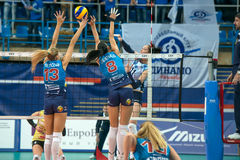 Elena Gamow 11 attacks. MOSCOW, RUSSIA - DECEMBER 2: Unidentified players in action during the game on women's Rissian volleyball Championship game Dynamo (MSC) royalty free stock photos