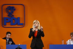 Elena Udrea Holding a Speach. Elena Udrea, member of PDL party,  holding a Speach during the PDL political party extraordinary congress, Bucharest, 23rd March Stock Photos