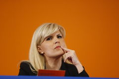 Elena Udrea Holding a Speech Stock Photo