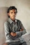 Elendsviertel-Junge in Kolkata stockfotografie