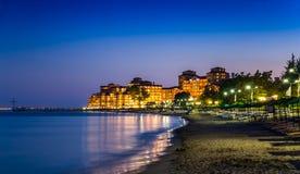 Elenite at night. Illuminated Elenite at night, beach, hotels, sea, plank beds, umbrellas Royalty Free Stock Photos