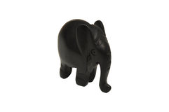 Elephant. Handmade wood ornament from Africa on white background Stock Photography