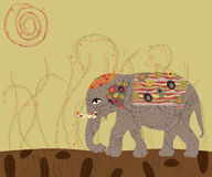 Elephant. With colored patterns. cartoon design in Stock Images