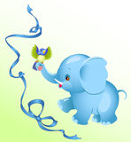 Elephant. The image a cheerful  elephant.A little bird sitting on an elephant's trunk.Blue ribbon on a background.Additionally, a vector EPS format Stock Photos