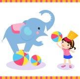 Elephant. Illustration of elephant and girl Royalty Free Stock Images