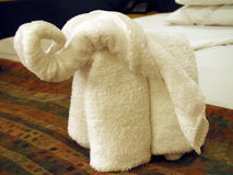Elephant. Towel folding art, shot in a cruise trip in caribbean stock image