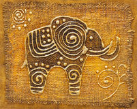 Elephant. Patterned abstract elephan, gold colors Royalty Free Stock Photo