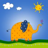 The Elephant. Colorful graphic illustration for children Royalty Free Stock Photo