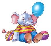 Elephant. The cheerful elephant holds a balloon Stock Photo