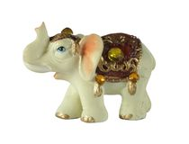 Elephant. Small porcelain souvenir elephant statue with coloured glasses Royalty Free Stock Images