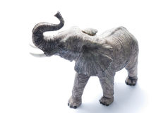 Elephant. The big gray ceramic indian elephant handmade Stock Photo