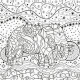 Elephant on abstract mandala vector illustration