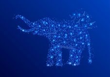 Elephant Abstract mash line and point origami on blue background with an inscription. Starry sky or space, consisting of Royalty Free Stock Photo