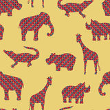 The elephant, alligator, giraffe, rhinoceros and hippopotamus vector. Seamless pattern background. Royalty Free Stock Image