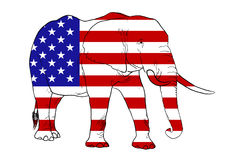 Elephant and American Flag Stock Photography