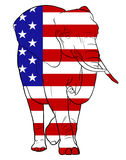 Elephant and American Flag Royalty Free Stock Photos