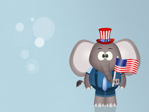 Elephant with American flag for July 4th Royalty Free Stock Photo