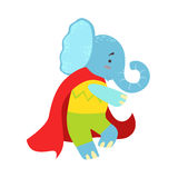 Elephant Animal Dressed As Superhero With A Cape Comic Masked Vigilante Character. Part Of Fauna With Super Powers Flat Cartoon Vector Collection Of Stock Photography